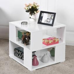 Modern Wood Square Coffee End Side Table with Storage Cube S