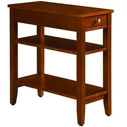 Narrow End Table For Small Places With Drawer and 2 Shelves