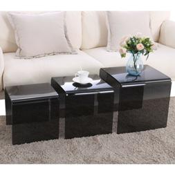 Modern Nest of 3 High Gloss Coffee Table Side Table with Gla