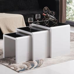 High Gloss White Nest of 3 Set Coffee Table Side End Table L