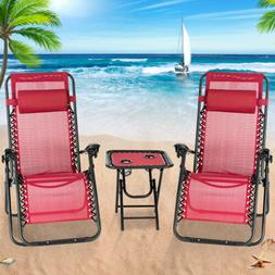 3PC/1PC Adjustable Zero Gravity Lounge Recliner Chairs Beach