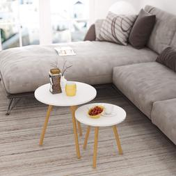 HOMFA Nesting Coffee End Tables Modern Furniture Decor Round