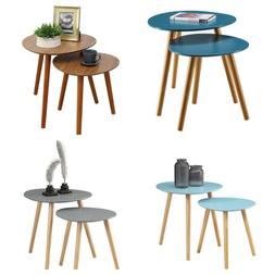 NESTING END TABLE Round Wood Side Table Multiple Colors