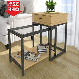 Lifewit 2-piece Side Table Nesting Table Accent Table Set wi