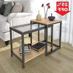 Lifewit 2-piece Side Table Nesting Table Accent Table Set, C