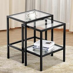 Yaheetech Set of 2Pcs Glass Nesting Tables Living Room Sofa