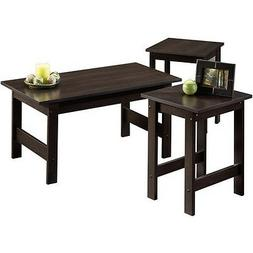 NEW 3 Piece Coffee Table Side Tables Set in Espresso Cherry