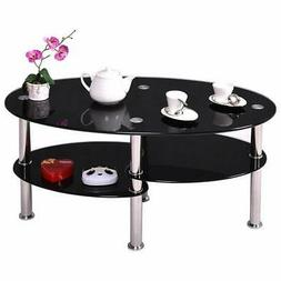 Black Glass Oval Coffee Table Side Shelf Chrome Base Living