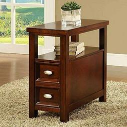 New Crownmark Dempsey Chairside End Table Cherry Finish Wood