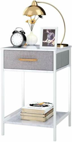 Homfa Nightstand, 2-Tier End Table Side Table with Drawer, S