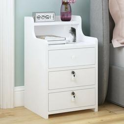 Nightstand Bedside Bedroom End Side Table 3 Drawer Stand Sto