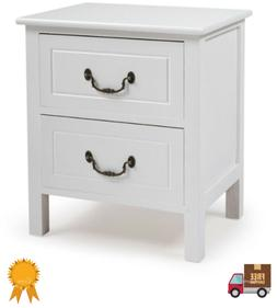 Nightstand Bedside End Table Bedroom Side Stand 2 Drawer Woo
