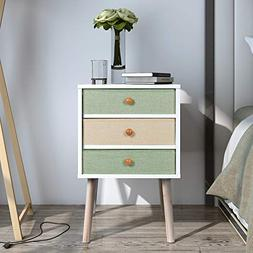Lifewit Nightstand with 3 Fabric Drawers, Unique Modern Desi