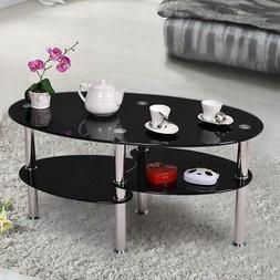 Oval Glass Side Coffee Table Chrome Bars with Shelf Living R