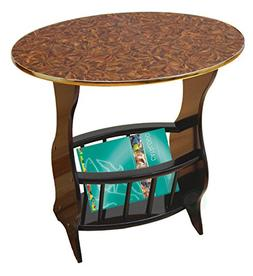 Uniquewise Oval Side Table with Magazine Holder, Espresso Br
