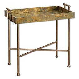 Oxidized Copper Tray Accent Side Table | Contemporary Cottag