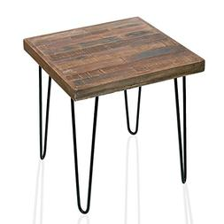 WELLAND Pine Wood Square End Table With 4 Hairpin Legs, Faux