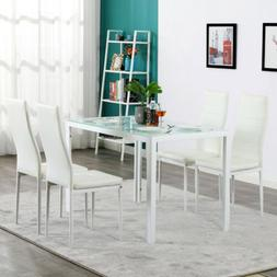 Popular 5 Piece Set Glass Table 4 Dining Side Chair Home Kit