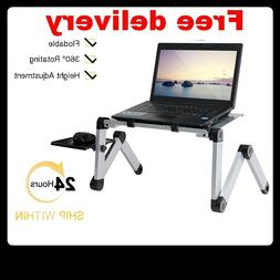 Portable Adjustable Aluminum Laptop Desk Stand Table Vented