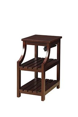 ComfortScape Rectangular Leg Side Table with Shelf and USB P