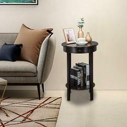 Reddish Small Round End Side Accent Coffee Table Bedroom Liv