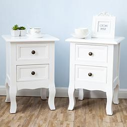 SUNCOO Retro White Wood Table/Night Stand End Side Bedside S