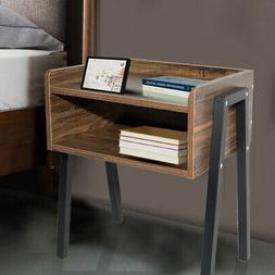 Retro Wooden Nightstand Bedside End Table Side Stand Desk Wi