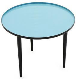 ROBINS Round Accent Side Table with Robin-blue Enameled Top