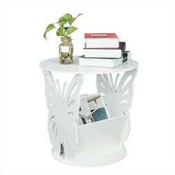 Round Butterfly Pattern Side Table Nightstand Coffee Tray So