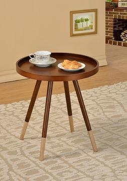 Round Coffee End Table Walnut Finish Wood Chairside Furnitur