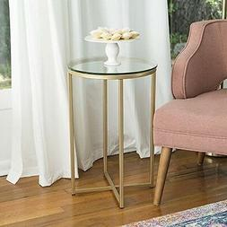 Walker Edison Round Glass Top End Table in Gold