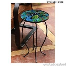 Round Metal Side Table End Glass Chairside Outdoor Bistro Di