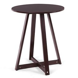 SONGMICS 19 Inch Round End Side Coffee Pedestal Table, Fully