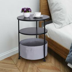 round wood side table with fabric storage