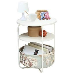 1208S Round Wooden Side Table/End Table,3 Tiers With a Book