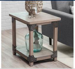 Rustic End Table Side Wood Shelf Nightstand Coastal Accent F