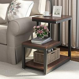 Tribesigns Rustic End Table, 3-Tier Chair Side Table Night S