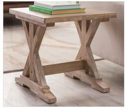 Rustic Wood End Table Side Accent Solid Distressed Nightstan