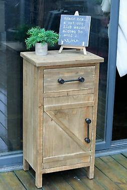 Rustic Wood Storage Console Table Cabinet End Table Side Tab