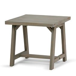 Simpli Home Sawhorse Solid Wood End Side Table, Distressed G