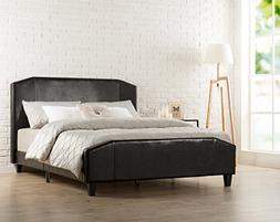 Zinus Sculpted Faux Leather Upholstered Platform Bed with Fo