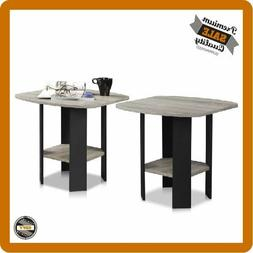 Set of 2 End Tables Grey, Living Room Furniture Coffee Side