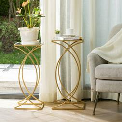 Glitzhome Set of 2 Glass Gold Accent End Coffee Sofa Side Ta