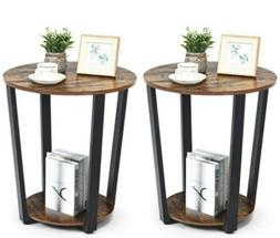 Set of 2 Industrial End Table Sofa Side Table Metal Frame Ni