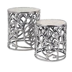 CC Home Furnishings Set of 2 Metallic Silver Coral Inspired