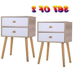 2-Drawer Nightstand Bed Side Lamp Table Sofa End Morden Wood