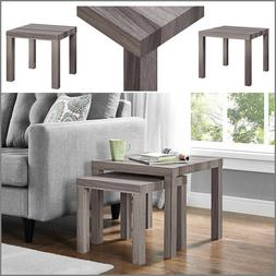 Set of 2 Rustic Oak Accent End Side Table Nesting Coffee Tab