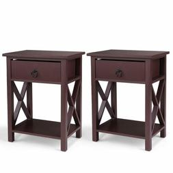 Set of 2 Wood Sofa End Side Bedside Table Nightstand W/Drawe