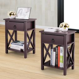 Set of 2 Wooden Nightstand Bedroom Side End Table Cross Styl