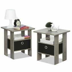 Side End Table 2 Wooden Gray Chairside Night Stand Drawer St